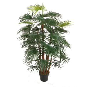 Artificial Five Finger Palm Tree in Plastic Pot