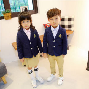 Custom Design Kids Children School Uniform with Three-Piece (Jacket+Pants/Skirt+Shirt) pictures & photos