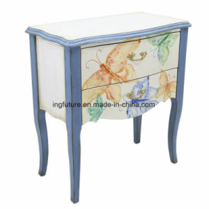 Decorative 2 Drawer Home Cabinet with Flower Painting