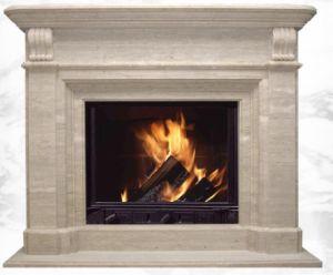 China Turkey Travertine Fireplace Surround Familyroom Light