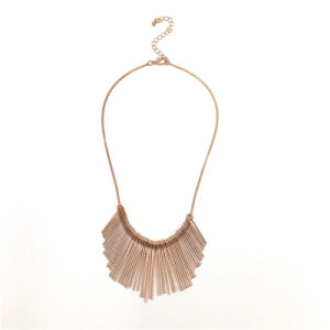 Metal Needle Shapped Bar with Texture Statement Necklace