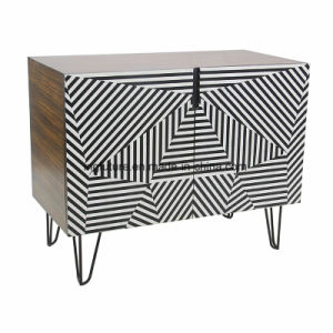 2 Doors Stylish Abstract Geometric Pattern Cabinet