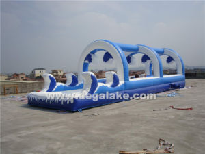 "Beautiful Blue and White Inflatable Wave Slip ""N"" Slide"