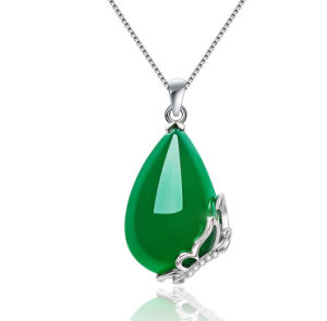 Women Silver Green Ball Bead Jade Gemstone Pendant Necklace Uf4si6oV