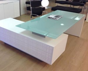 China Manufacture Printing Dining Tempered Opaque Square Glass Table