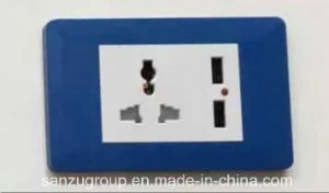 New Design Aluminum Panel 2 USB Outlet and Multi Socket pictures & photos