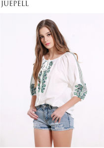 Summer New Women Strap Pleated Sleeve Shirt Embroidered Retro Big Yards Loose Shirt T-Shirt Blouse pictures & photos