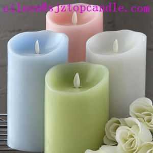 Flameless Pillar Battery Operated Set of 3 Luminara Moving Wick LED Candles