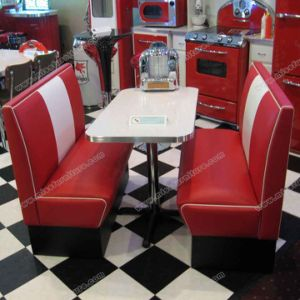 China High Quality Bel Air Booth Seating And Table 1950s Furniture Set For Sale M8108 China Diner Furniture Set Retro Furniture Set