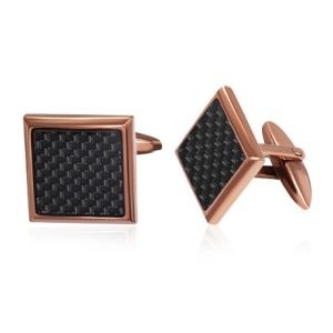 Mens Stainless Steel & Carbon Fibre Square Cufflinks