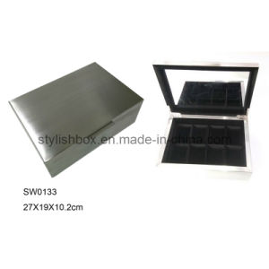 Brushed Stainless Steel Metal Watch Box (SW0133)