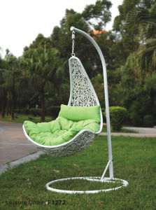 Patio Leisure Chair Thick Rattan Hanging Chair Swing Chair Hammock With  Cushion Iron Hanging Support