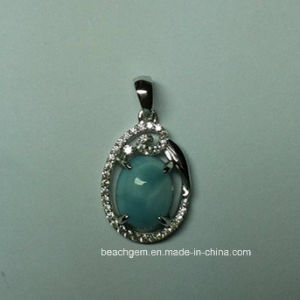 Jewellery-Natural Larimar Sterling Silver Pendant (P0350)