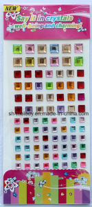 Multicolor Square Rhinestone Stickers/Acrylic Sticker/Mobile Phone Sticker