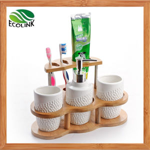 Ceramic Bathroom Accessories Set with Bamboo Stand pictures & photos