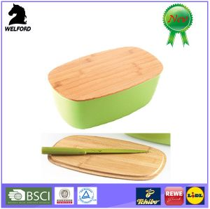Eco-Friendly Bamboo Fiber Bread Case with Cutting Board