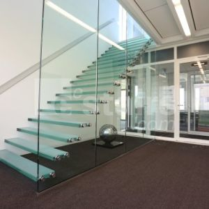 Tempered Glass Panel Stairs, Invisible Stringer Glass Staircase Floating Glass Stairs pictures & photos