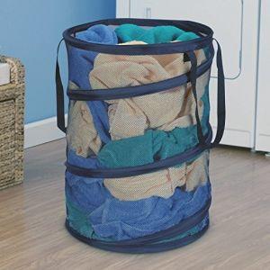 c993193393ff Black Foldable Spiral Pop up Black Clothes Mesh Laundry Hamper