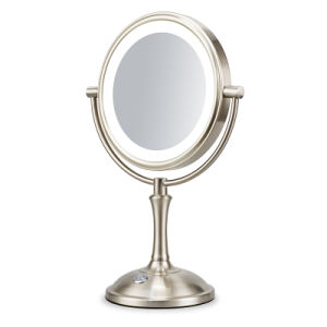 Double Sided 360 Degree Rotation Tabletop Illuminated 10x Magnifying Makeup Vanity Mirror With Led Lights