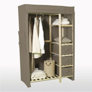 Wooden Wardrobe With Cotton Canvas Cover