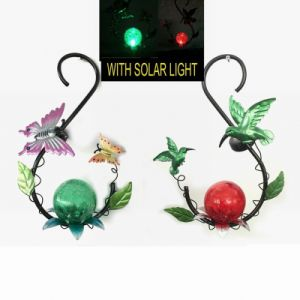 Metal Garden Hanging Solar Lighted Lantern Craft with Glass Ball Decoration