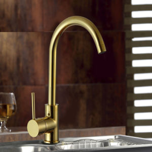 Golden Plated Solid Brass Sink Mounted Kitchen Faucet
