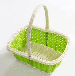 Small Size Green Flower Basket/Bread Fruit Basket with Handle