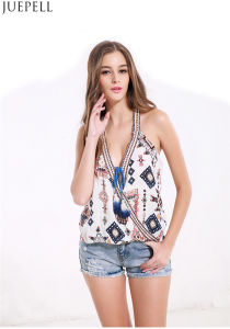 Women′s Summer Sexy Cross Straps Hanging Neck Halter Sleeveless Printing T-Shirt Factory pictures & photos