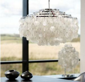 Modern White Capiz S Chandeliers Led Pendant Lamps For Kitchen Luminaire Hanging Lamp Re Light Fixtures