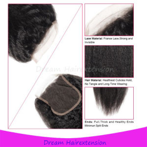 8A 100% Human Hair Peruvian Silk Base Closure Bleached Knots Kinky Straight Hair 4*4inch pictures & photos