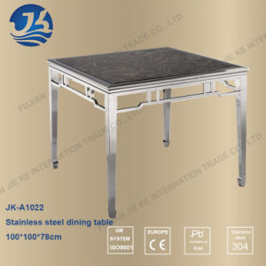 Chinese Design Square Shape Stainless Steel Dining Table with Marble Top