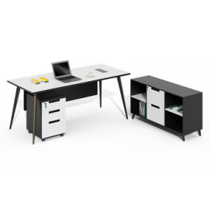 Modern Melamine Executive Furniture MDF Wooden L Shape Antique Style Office Desk