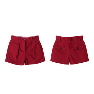 Fashion Regular Fit Chili Pepper Plain Cotton Kids Girls Shorts pictures & photos