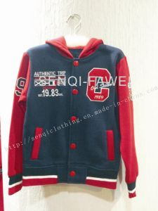 Fleece Children Boy Hoody with Embroidery in Children Clothes for Kids Sports Baseball Uniform