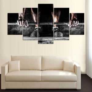 Boy Dumbbells Sports Exercising Bodybuilding Fitness Motivational Poster Silk Fabric for Gym Print Canvas Painting Mc-167 pictures & photos