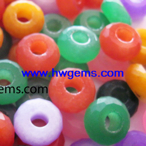 Dyed Malaysian Jade Rondelle Loose Bead