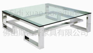 Square Glass Top Coffee Table with Silver Steel Leg and Frame for Home Furniture pictures & photos
