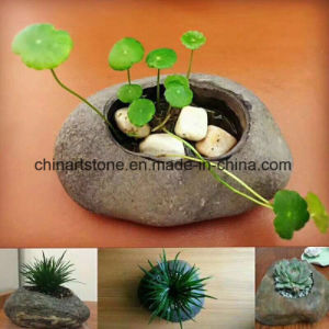 Nature Raw Stone Flowerpot for Balcony Greening (potted plant)