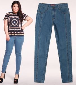 P1162 Women Plus Size Pencil Jean with Cygnet Embroidery pictures & photos