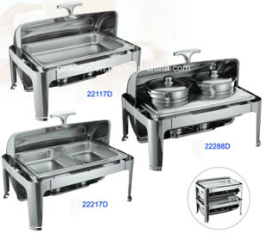 Full Size Hydraulic Roll-Top Chafing Dish Set with Food Pan/Bain Maries (22117D/22217D/22288D) pictures & photos