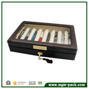 China Luxury Wooden Pen Box with PU Leather and Lock pictures & photos