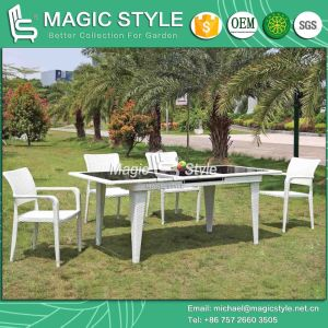 Outdoor Auto Extension Table and Chair Rattan Extension Table Wicker Dining Chair Patio Furniture Garden Dining Set Wicker Furniture pictures & photos
