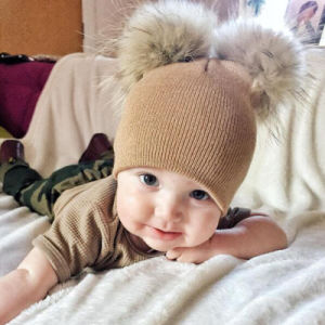 bc8adbba242 Children Hat Toddler Kids Baby Warm Winter Wool Hat Knit Beanie Fur POM POM Hat  Baby