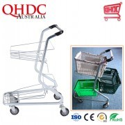 Go Wholesale Three Tiers Supermercado Carro Metal Basket Trolley Shopping Cart with 4 Wheels for Supermarket Plastic Baskets