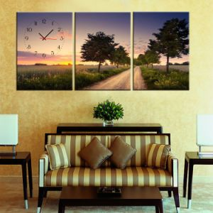 Inkjet Printed Canvas 3 Panel with Clock