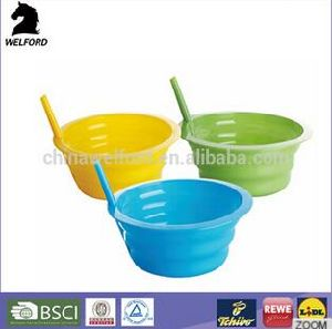 BSCI Certification Colorful Kid Bowl Plastic Bowl with Straw