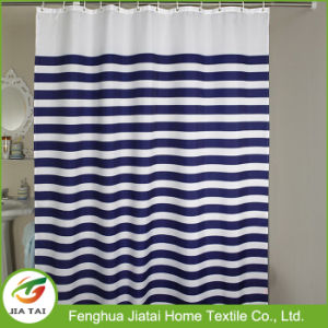 Custom Luxury Blue and White Striped Shower Curtain