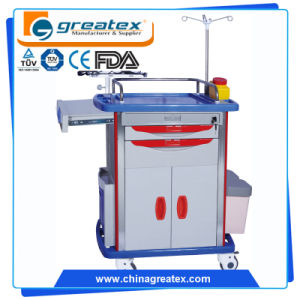 Medical Emergency Trolleys Mobile Medical Trolley with IV Poles