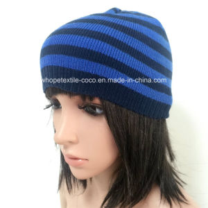100% Acrylic Beanie with Stripe/Embroider Logo