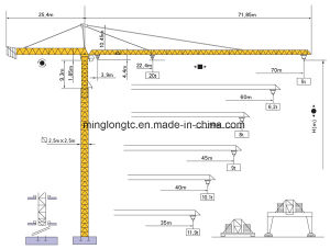 20t K50 50 TC7050 Tower Crane Jib Length 70m Tip Load 5t